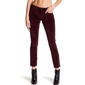 NWT Lucky Brand Velvet burgundy Lolita pants